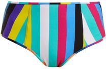 【Diane von Furstenberg】Striped high-rise bikini briefs