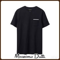 MassimoDutti♪COTTON T-SHIRT WITH CONTRASTING DETAIL