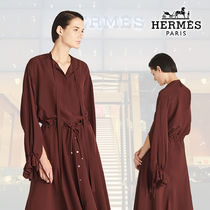 【18SS】HERMES/エルメス モロッコシルク シャツ ブラウン