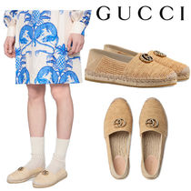 GUCCI グッチ Raffia espadrille with Double G エスパドリーユ