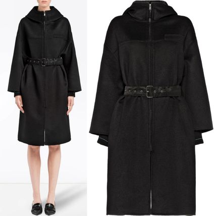PRADA コート PR1206 CASHMERE BLEND WOOL HOODED COAT