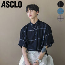 ★ASCLO★ BIG CHECK SHORTSLEEVED SILK SHIRTS
