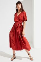 1点のみ限定価格! UO/Gabrielle Linen Midi Wrap Dress 即発可♪