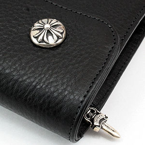 CHROME HEARTS 長財布 WAVE WALLET CROSS BUTTONS BLACK HEAVY LEATHERインボイス付き(2)