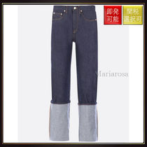 【ロエベ】Embroidered Jeans With Turn Up Hem Blue