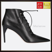 【ミュウミュウ】Lace Up Booties In Smooth Leather Black