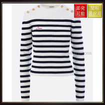 【ミュウミュウ】Mariniere Pullover In Striped Wool Ivory