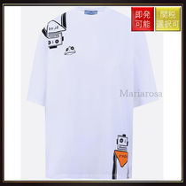 【プラダ】Robot Print Cotton T Shirt White With Multi Print