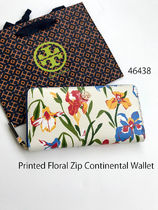 TORY BURCH☆Printed Floral Zip Continental Wallet*アイリス