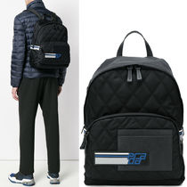 PRM168 QUILTED NYLONN & SAFFIANO BACKPACK WITH LOGO PATCH