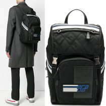 PRM169 QUILTED NYLONN & SAFFIANO BACKPACK WITH LOGO PATCH