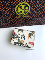 即発 TORY BURCH★PARKER FLORAL FOLDABLE MINI WALLET*花柄
