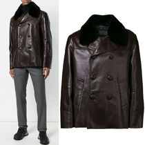 PRM175 HORSE LEATHER PEA COAT WITH LAPIN FUR