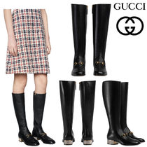 GUCCI グッチ Horsebit leather knee boot with crystals ブーツ
