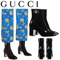 GUCCI グッチ Patent leather ankle boot with bee ブーツ black