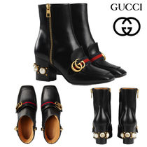 GUCCI グッチ Leather mid-heel ankle boot アンクルブーツ