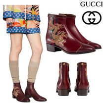 GUCCI グッチ Leather boot with dragon ブーツ bordeaux 504841