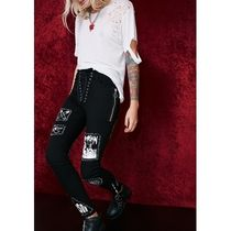 即納★国内発CURRENTMOOD//STITCH BITCH LACE-UP PATCH JEANS