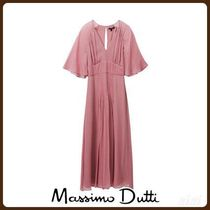 MassimoDutti♪FLOWING DRESS WITH PLEATED DETAILS