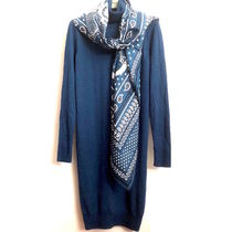 "SOLDES!! HERMES ROBE Col roule""CACHEMIRExSOIE""BLEU CURACAO"