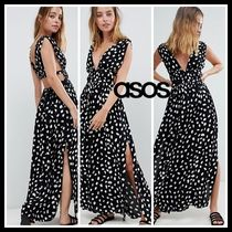 ASOS DESIGN petite grecian maxi beach dress in spot print