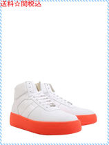 MAISON MARGIELA HIGH TOP LEATHER SNEAKERS WITH FLUO SOLE