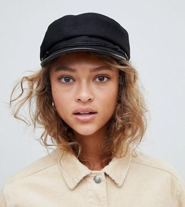 【ASOS】Monki felt baker boy hat in Black◆キャスケット