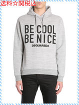DSQUARED BE COOL BE NICE PRINT HOODED COTTON SWEATSHIRT