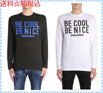 DSQUARED BE COOL BE NICE PRINT LONG SLEEVE COTTON T-SHIRT