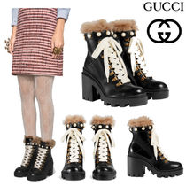 GUCCI グッチ Leather ankle boot with wool アンクルブーツ