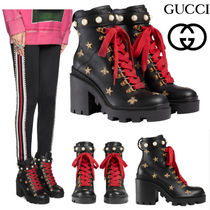 GUCCI グッチ Leather embroidered ankle boot アンクルブーツ