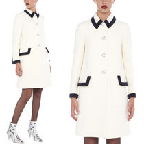 MM547 POINT COLLAR WOOL COAT WITH JEWELRY BUTTON