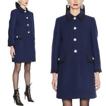 MM548 POINT COLLAR WOOL COAT WITH JEWELRY BUTTON