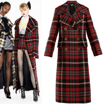 MM549 LOOK12 PLAID WOOL DOUBLE BREASTED COAT