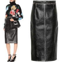 MM562 VINTAGE EFFECT LEATHER PENCIL SKIRT