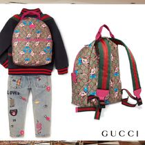 GUCCI キッズ バックパック キャンバス 小鹿プリント ピンク