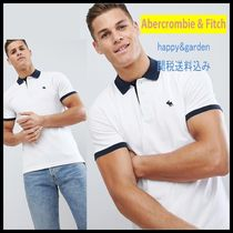 Abercrombie & Fitch★関送込コントラスト襟ロゴポロシャツ(白)