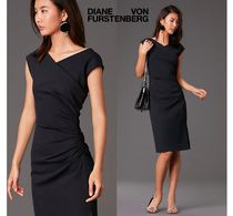 DVF★リトルブラックドレス★Cap Sleeve Ruched Jersey Dress
