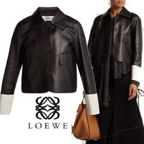 【18AW】大注目!!★LOEWE★Contrast-cuff nappa leather jacket