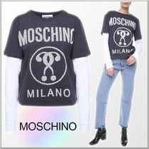18-19AW★Moschino 重ね着風 ロゴ プリント 長袖 Tシャツ