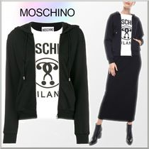 18-19AW★Moschino 重ね着風 ロゴ プリント パーカー