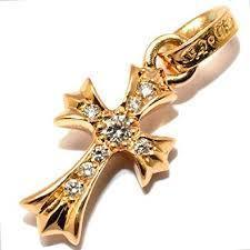 Chrome Hearts 22K Gold CH Cross Baby Fat with Pave Diamonds (CHROME HEARTS/ネックレス・チョーカー) 37325355