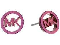 Michael Kors Plum Plated Stud MK Logo Earrings 送料関税込