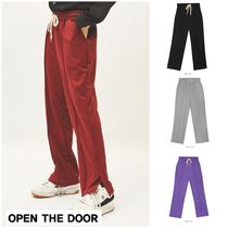 OPEN THE DOOR(オープンザドア) パンツ  新作★OPEN THE DOOR★slit string sweat pants (4 color)-UNS