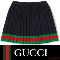【国内発送】GUCCI Ages 4 - 12 striped pleated wool skirt