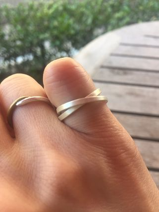 1.5mm Double Ring - Cross Natural Unpolish Silver Band