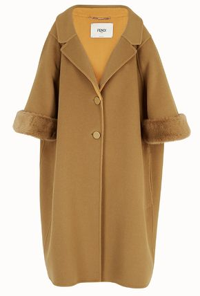 FENDI Yellow wool coat Overcoat