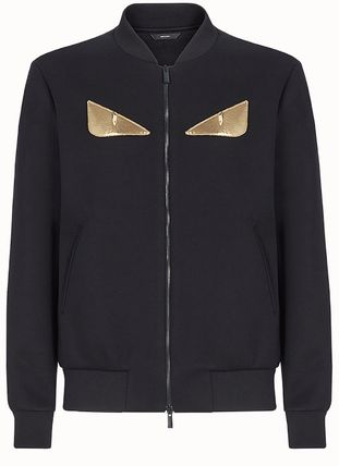 FENDI NEOPRENE BLACK BLOUSON JACKET