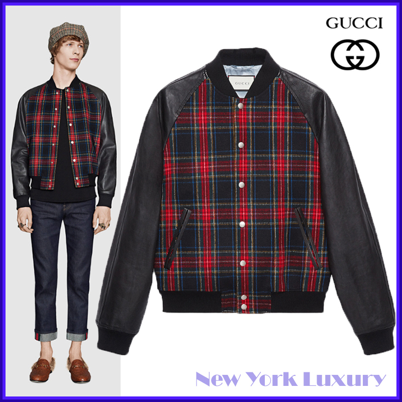 GUCCI★グッチ★素敵!Black Tartan And Leather Bomber Jacket (GUCCI/スタジャン) 427449