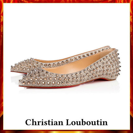 【Christian Louboutin】Follies Spikes Flat Glitter